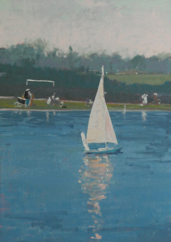 Bournville Boating Pond, oil on board 42 x 30 cms