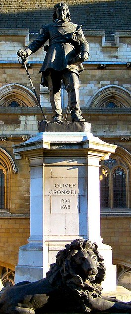Cromwell statue with lion
