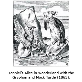 Tenniel's Alice in Wonderland with the Gryphon and Mock Turtle (1865).