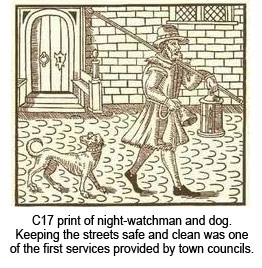 C17 print of night-watchman and dog.