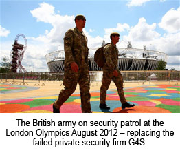 The British army on security patrol at the London Olympics August 2012 – replacing the failed private security firm G4S.