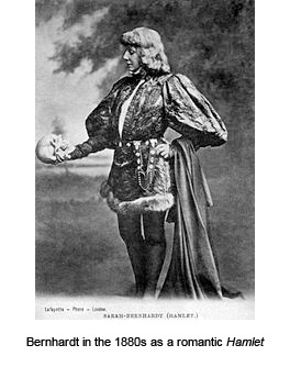 Bernhardt in the 1880s as a romantic Hamlet