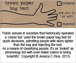 Public venues in societies that historically operated a 'colour bar'  used the brown paper bag test for quick decisions,  admitting people with skins lighter than the bag and rejecting the rest.  As a means of classifying people, it's as 'lookist' as phrenology  but with even fewer claims to being 'scientific'.  Copyright © Jessica C (Nov. 2013)