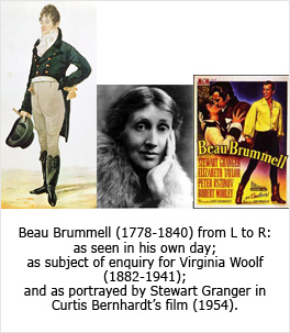 Beau Brummell (1778-1840) from L to R: as seen in his own day; as subject of enquiry for Virginia Woolf (1882-1941); and as portrayed by Stewart Granger in Curtis Bernhardt's film (1954).
