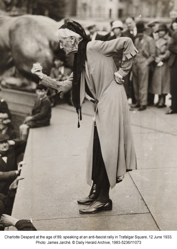 Charlotte Despard at the age of 89, speaking at an anti-fascist rally in Trafalgar Square, 12 June 1933. Photo: James Jarché. © Daily Herald Archive, 1983-5236/11073